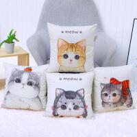 北欧方形棉麻抱枕可爱萌猫咪亚麻沙发卧室靠垫汽车腰枕套 枕套(请联系客服) 45x45cm枕套