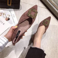 时尚春季新款休闲复古风女士单鞋百搭尖头平底舒适女鞋