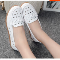 夏季新款软底滑镂空中年女鞋夏季平底中老年妈妈鞋洞洞鞋