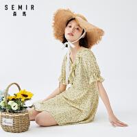森马2021夏季新款女装复古减龄碎花裙子韩系少女甜美a字连衣裙潮