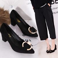 高跟鞋职业女鞋黑色方扣正装磨砂粗跟尖头7厘米浅口单根女士单鞋
