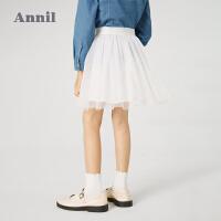 【1件5折价:94.5】安奈儿童装女童短裙2021春新款女孩蓬蓬裙中大童网纱蛋糕裙半身裙