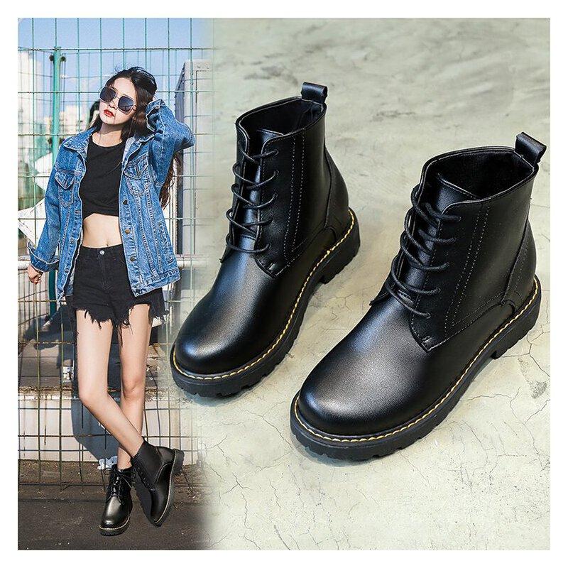 马丁靴女粗跟圆头英伦风韩版机车靴加绒学生内增高细带中跟防滑短