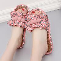 女士凉拖鞋夏季室内时尚家居地板厚底滑毛拖鞋韩版可爱家居鞋女