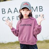 儿童卫衣 女童加绒卫衣2020秋冬装新款韩版长袖上衣女童中大童宽松加厚字母套头衫