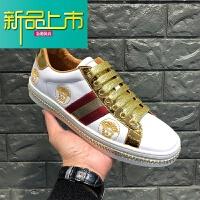 新品上市春秋新款小白鞋美杜莎时尚系带板鞋真皮运动休闲鞋潮牌男鞋