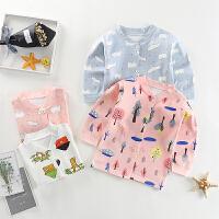 婴儿纯棉上衣单件舒绒宝宝开衫长袖内衣男女儿童打底睡衣