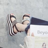 凉鞋新款女厚底松糕韩版学生罗马鞋子女夏一字带中跟凉鞋