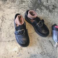 2019新品日系软妹一脚蹬小皮鞋女复古潮平底英伦学院风单鞋女 黑色