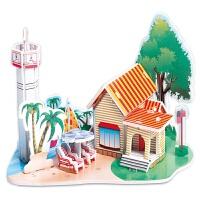 纸板拼插模型 3D立体拼图儿童玩具3-6-8岁男孩女孩diy手工纸质房子模型早教