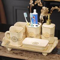 欧式陶瓷卫浴五件套创意卫生间浴室洗漱用品漱口杯刷牙杯套装套件 +托盘
