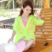 防晒衣 长袖沙滩防晒服开衫透明薄外套空调衫