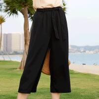休闲套装女夏装2019新款时尚简约宽松显瘦T恤+绑带阔腿裤子两件套 均码