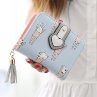 短款女士钱包韩版可爱卡通卡包学生拉链流苏钱夹零钱包