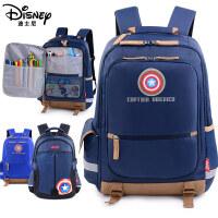 迪士尼男童书包小学生4-6年级1-3轻便休闲双肩包美国队长儿童书包