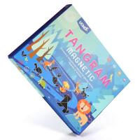 七巧板智力拼图磁性玩具儿童磁力拼板小学生一年级教学套装