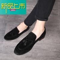 新品上市韩版真皮休闲小皮鞋男士青年英伦一脚蹬磨砂影楼型师男鞋潮