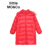 【折后价:600】littlemoco男女童羽绒服中长款立领连帽开衩儿童毛领羽绒服外套