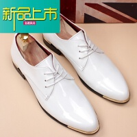 新品上市英伦男鞋尖头商务正装皮鞋韩版亮皮男鞋型师鞋影楼拍照皮鞋
