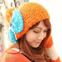 韩版大蝴蝶结毛线帽 圈圈绒贝雷绒线帽 保暖女帽