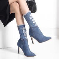 秋冬新款超高跟细跟尖头中筒短靴牛仔布时尚大码马丁靴