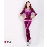 天鹅绒休闲套装修身金丝绒运动套装潮流 女运动服 女款装卫衣