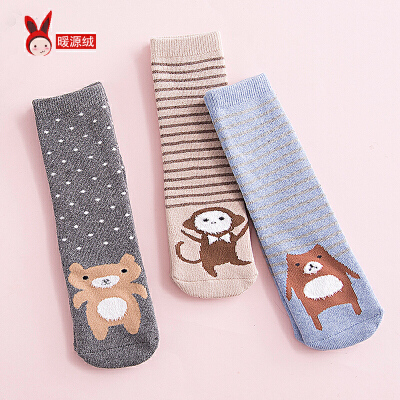 秋冬婴儿宝宝袜子加厚保暖男女儿童长筒毛圈袜0-12岁