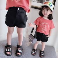 女童短裤黑色儿童夏装牛仔裤女宝宝裤子