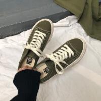 橄榄绿帆布鞋女复古港味学生韩版ulzzang百搭板鞋潮女鞋子