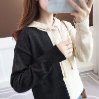 【秋冬新品】高端专柜品牌高档轻奢品牌好看的初秋装针织连帽衫2019新款雪尼尔韩版拼色套头毛衣女外套很