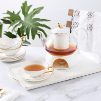 日系可爱红茶花草茶英式下午茶陶瓷玻璃花茶具套装蜡烛加热温茶炉