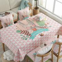 桌布布艺棉麻小清新防烫卡通书桌防水桌垫长方形北欧台布