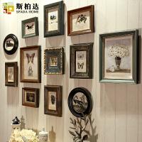 美式照片墙相框墙相片客厅餐厅装饰复古实木欧式相框挂墙组合创意