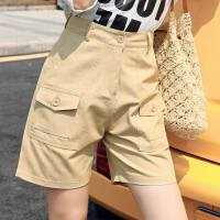 法式工装裤女短裤夏季新款韩版显瘦宽松直筒裤高腰五分裤潮