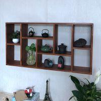 墙壁置物架中式 置物架墙面装饰壁挂创意格子架实木搁板杯子收纳