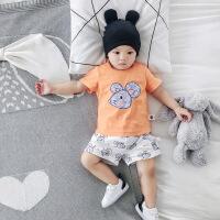 婴儿衣服新款夏季宝宝童套装0-3岁卡通T恤短裤儿童两件套童装