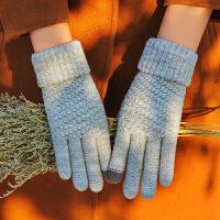 触屏手套女冬季男加厚保暖加绒针织毛线韩版学生纯色情侣防寒骑车