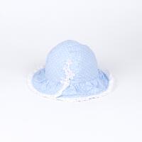 儿童帽子 夏天女童纯棉渔夫帽 中大童防晒遮阳帽花边小花盆帽