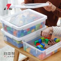 RISU日本�M口�和�玩具收�{箱小密封塑料箱子�犯咦R字卡收�{盒有�w