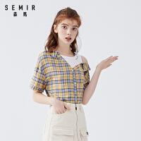森马短袖衬衫女2020夏新款宽松显瘦撞色格纹衬衣露肩字母印花上衣