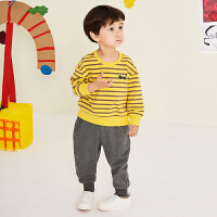 【2件3折价:149.7元】马拉丁童装男小童卫衣套装新款秋装时尚条纹罗纹上衣休闲长裤