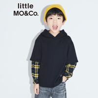 littlemoco秋季新品女童帽衫男童卫衣拼接格纹假两件连帽儿童卫衣