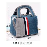 饭盒袋手提包加厚保温包便当包防水午餐袋子圆形手拎带饭包