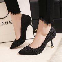 职业高跟鞋女黑色单鞋布面猫跟7cm性感工作韩版舒适酒店单鞋皮鞋