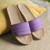 春夏季男女式新款情侣家居室内地板轻静音家用草编拖鞋日式
