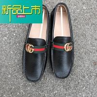 新品上市快手红人豆豆鞋社会精神小伙立正豆豆鞋牛皮防水豆豆鞋