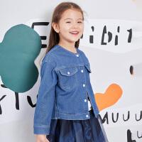 【双12年终大促2件2折后到手价:87.8元】马拉丁童装女童牛仔衣2019新款秋装时尚韩版图案个性短款外套洋气