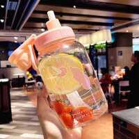 韩国大容量玻璃杯便携水杯女学生软妹随手杯子卡通可爱带吸管茶杯