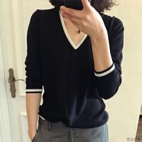 早秋领修身衫套头长袖薄款毛衣女宽松短款针织打底衫