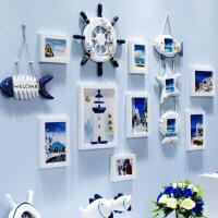 创意地中海照片墙客厅实木相框墙挂墙儿童卧室相片墙组合背景欧式xA钟表款+蓝白